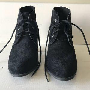 BCBG Generation black suede tie up booties